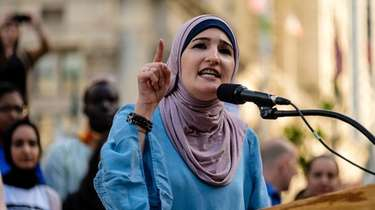 Linda Sarsour speaks at a rally in Foley