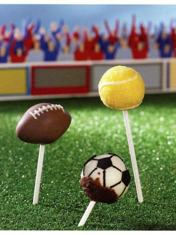 "Sports-themed cake pops from ""Super Pops: 60 quick"