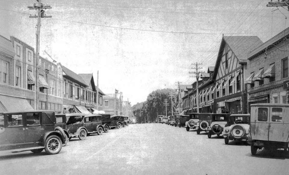 The shopping district was bustling in the 1920s