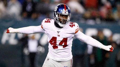 The Giants' Markus Golden celebrates after sacking Philadelphia
