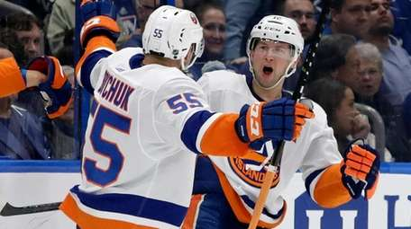 Islanders right wing Josh Bailey celebrates his goal