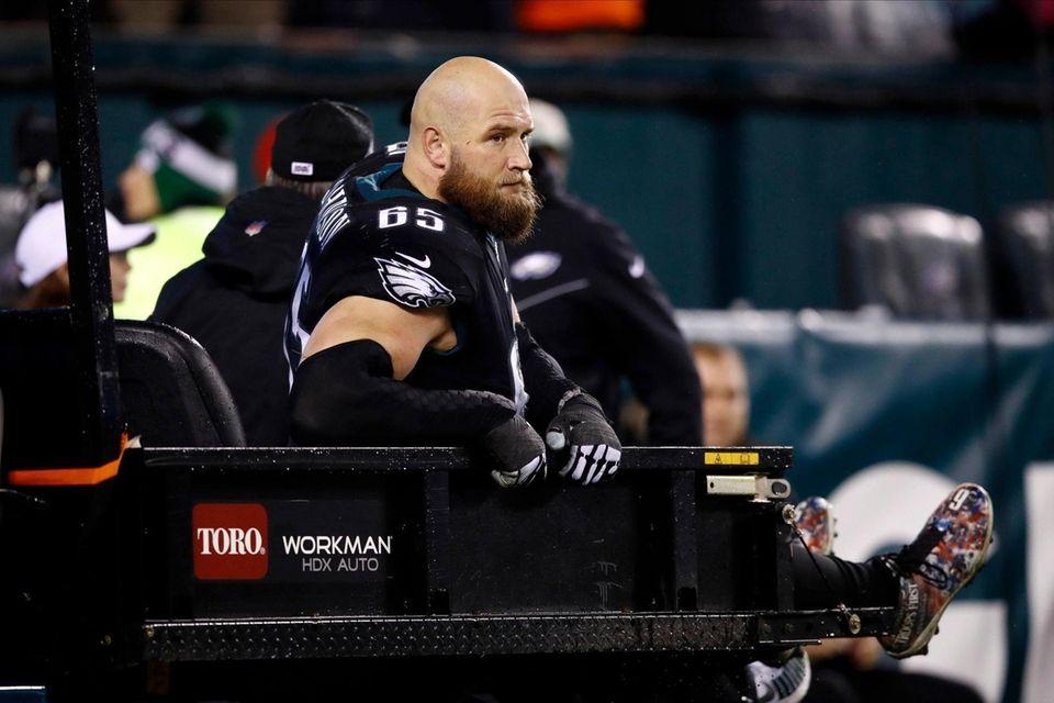 Philadelphia Eagles' Lane Johnson is carted off the