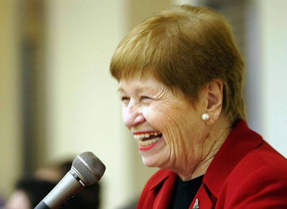 Retired Town Supervisor May Newburger speaks after a