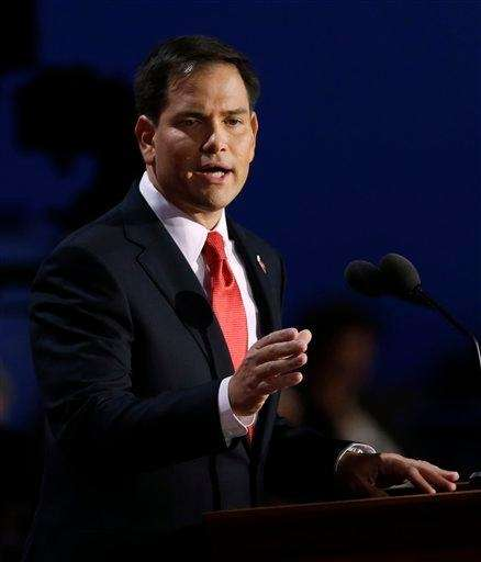 Florida Senator Marco Rubio addresses delegates during the