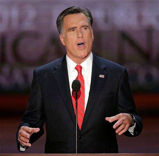 Republican presidential nominee Mitt Romney addresses the Republican
