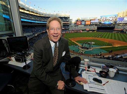 Yankees broadcaster John Sterling sits in his booth