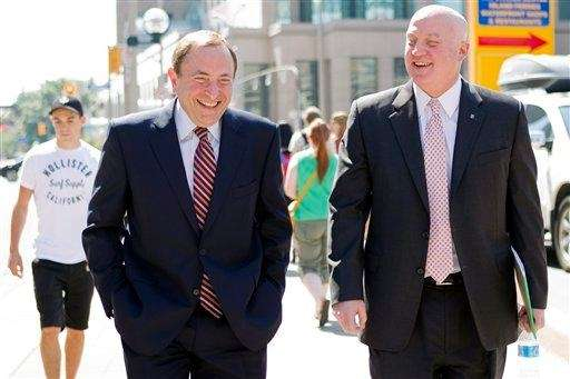 NHL commissioner Gary Bettman, left, and deputy commisioner