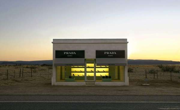 "The stucco and adobe Prada Marfa ""store,"" near"