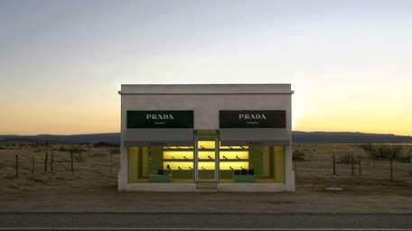 The stucco and adobe Prada Marfa