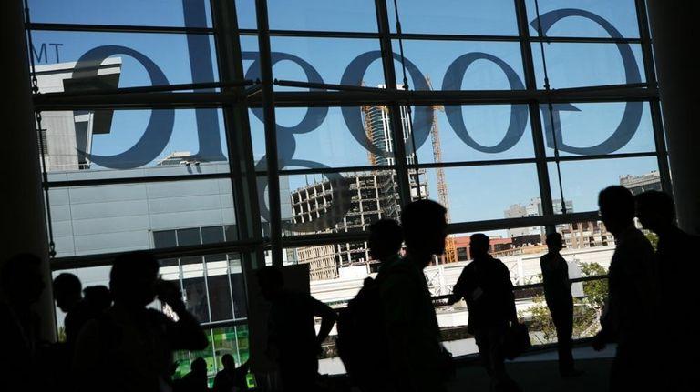 A Google logo is seen through the windows
