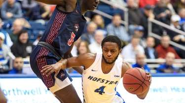 Hofstra Pride guard Desure Buie (4) looks for