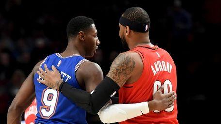 Knicks forward RJ Barrett, left, greets Portland Trail