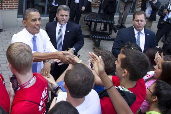 President Barack Obama greets people at the Ohio
