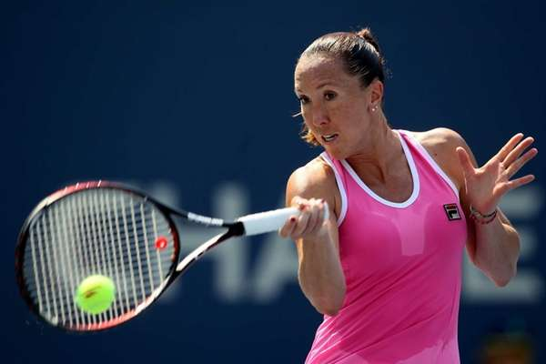 Jelena Jankovic of Serbia returns a shot against