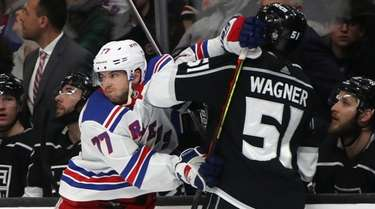 Tony DeAngelo of the Rangers gets the glove