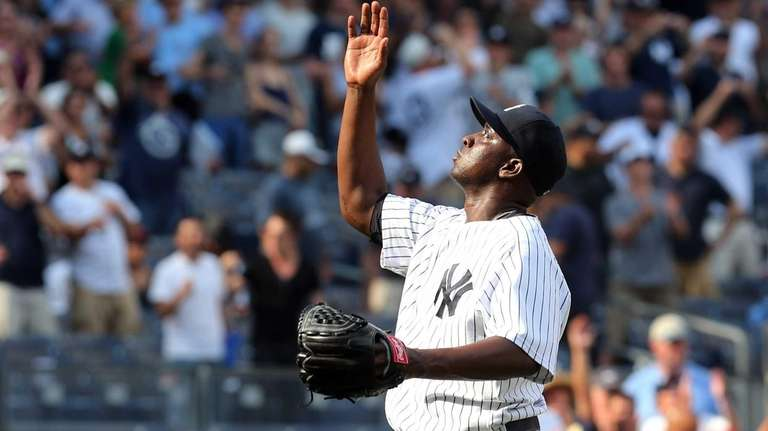 Rafael Soriano celebrates after the final out of