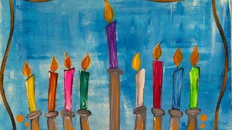 Kids can paint a menorah at a class