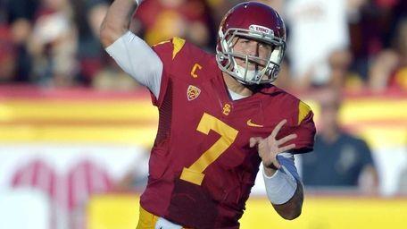 Southern California quarterback Matt Barkley passes during the