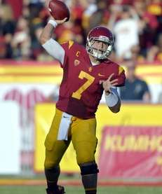 Southern California quarterback Matt Barkley passes during the