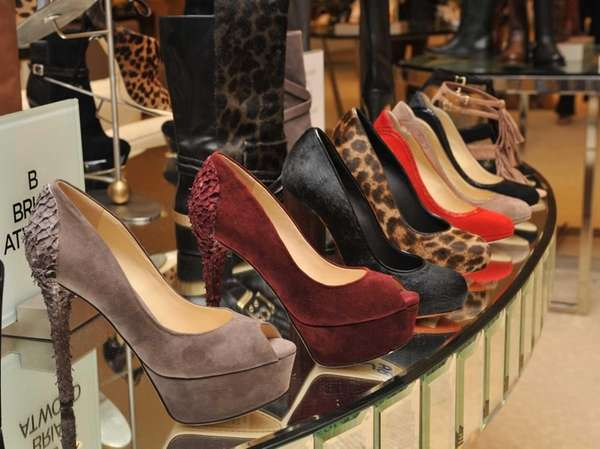 Display of designer Brian Atwood shoes during Fashion