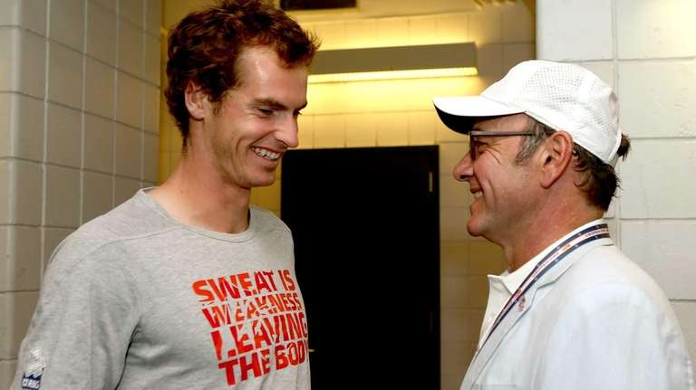 Andy Murray of Great Britain meets actor Kevin