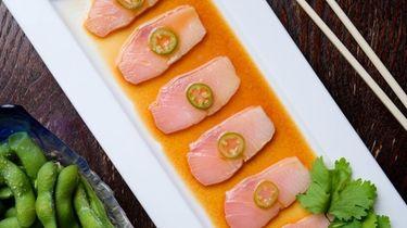 Yellowtail sashimi with jalapeño-yuzu soy at Nikkei of