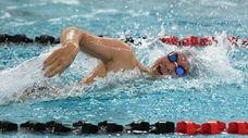 Half Hollow Hills' Bryan Park swims the last