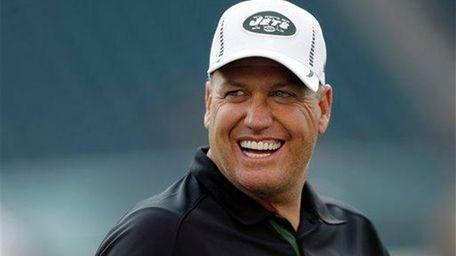 New York Jets head coach Rex Ryan smiles