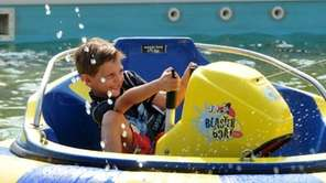 Tyler Peronace, 6, of East Norwich, races around