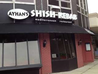 The outside of Ayhan's Shish Kebab, a Mediterranean