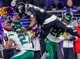 Ravens running back Mark Ingram II dives for