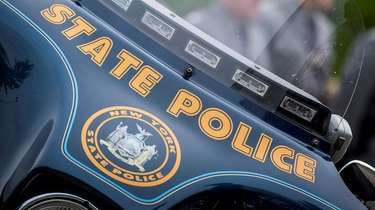 A New York State police motorcycle during a