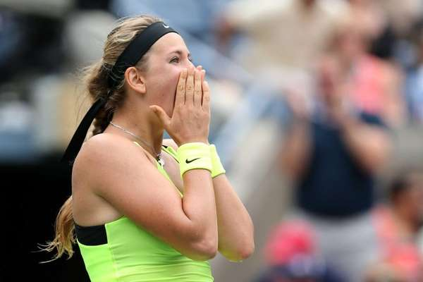 Victoria Azarenka of Belarus celebrates after defeating Samantha
