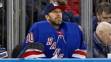 Henrik Lundqvist on the bench during the second