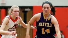 Sayville's Jenna Harclerode dribbles through mid court as
