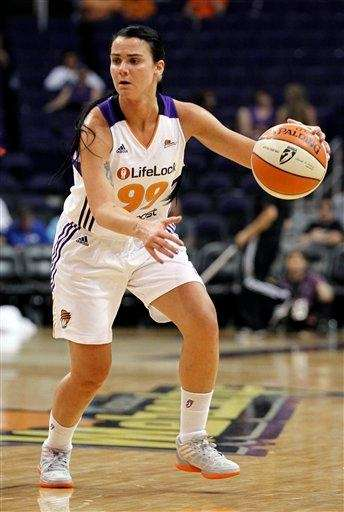 The Phoenix Mercury's Samantha Prahalis dribbles against the
