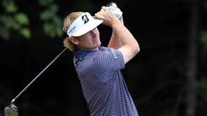 Brandt Snedeker tees off on the 15th hole