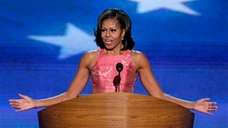 First Lady Michelle Obama addresses the Democratic National