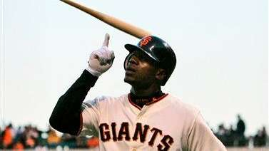 Then-Giants outfielder Fred Lewis celebrates after hitting a