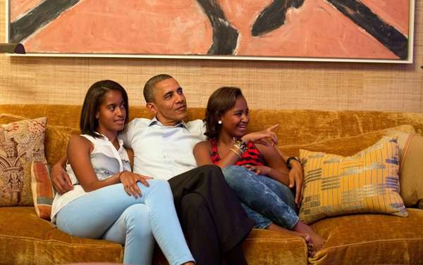 President Obama and his daughters, Malia and Sasha,