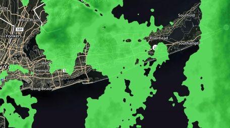 The weather radar image of Long Island on