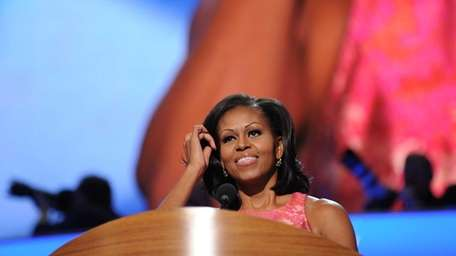 First lady Michelle Obama delivers a speech on