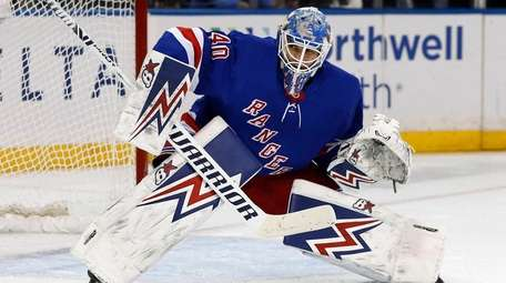 Alexandar Georgiev of the Rangers makes a save