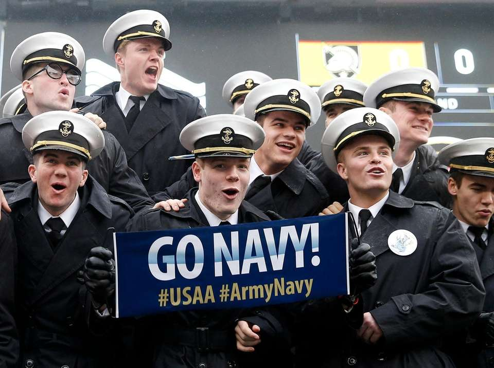 The Naval Academy Cadets taunt the Army Core