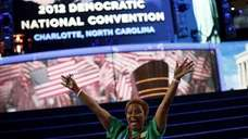 Karen Yarbrough, a delegate from Illinois, gestures in