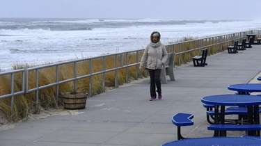 Joy Wendy, of Mastic Beach, goes for a