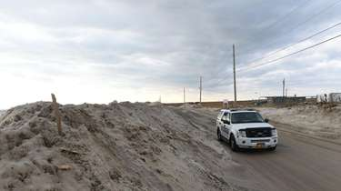 Dune Road in Southampton was flooded overnight, washing