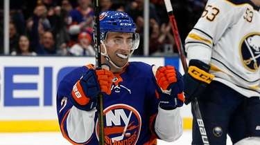 Jordan Eberle of the Islanders celebrates his third