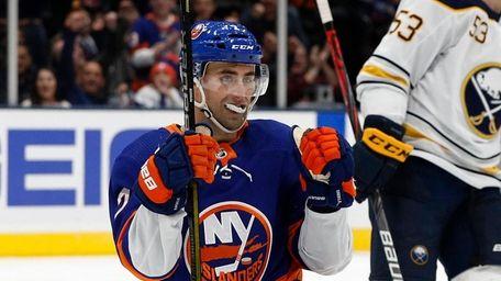 Jordan Eberle of the Islanders celebrates his third