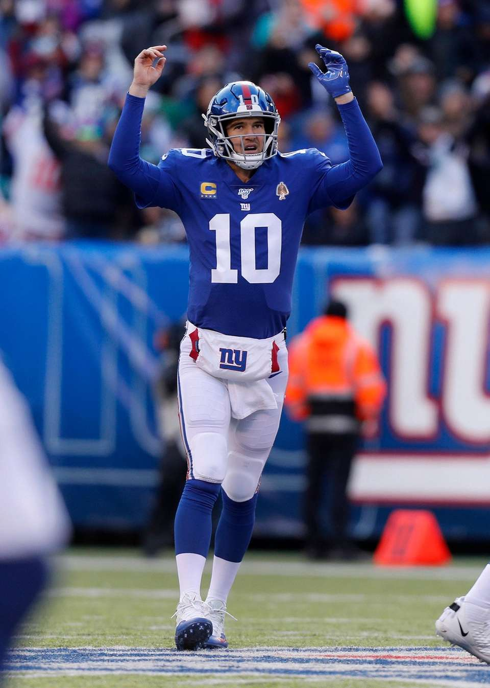 Eli Manning of the Giants celebrates after throwing